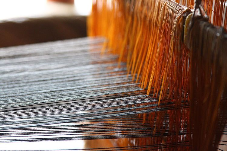 Close-up of loom