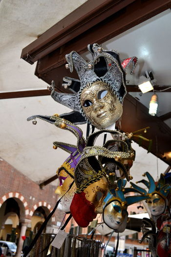 Carnival Carnival Time Masks Venezia Verona Verona Italy Architecture Building Exterior Built Structure Carnival - Celebration Event Close-up Day Hanging Indoors  Low Angle View Mask_collection Masks Arts And Crafts No People