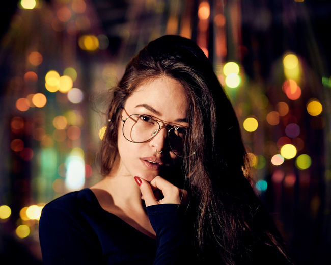 Light Catcher - Model: Shio - For Bookings: (Instagram: @shio_limitededition) Christmas Fine Art Photography Night Photography Valentine's Day  Adult Adults Only Beautiful Woman Beauty Bokeh Close-up Eyeglasses  Female Model Focus On Foreground Headshot Illuminated Looking At Camera Neon Night One Person One Young Woman Only Outdoors People Portrait Real People Sparkly Winter Wonderland Women Young Adult Young Women The Portraitist - 2018 EyeEm Awards HUAWEI Photo Award: After Dark