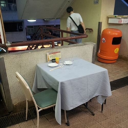 Choice Seating by the stairs and trashcan. HongKong Foodie