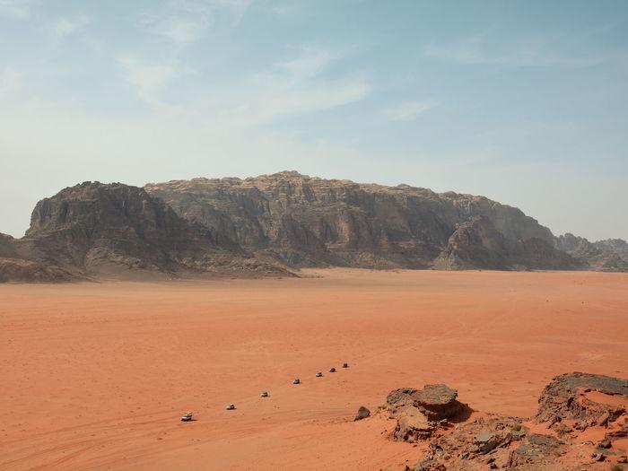 Scenic view of wadi rum desert against sky