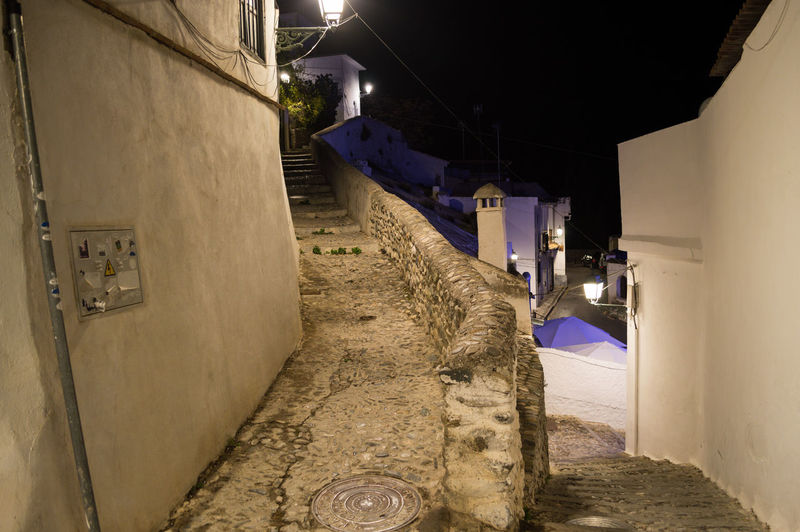 Granada Granada, Spain Andalucía Albaicin Albaycin Illuminated Architecture Night Built Structure Lighting Equipment Building Exterior Building Street City Direction The Way Forward Snow Cold Temperature Winter No People Footpath Staircase Residential District Alley