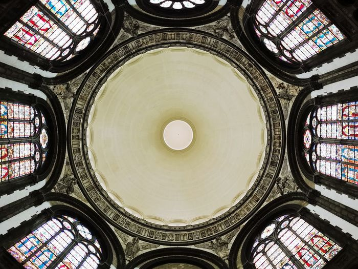 Concentric Dome City Backgrounds Cupola Pattern Full Frame Window Symmetry Ceiling Architecture And Art Architectural Design Architectural Detail Stained Glass Rose Window