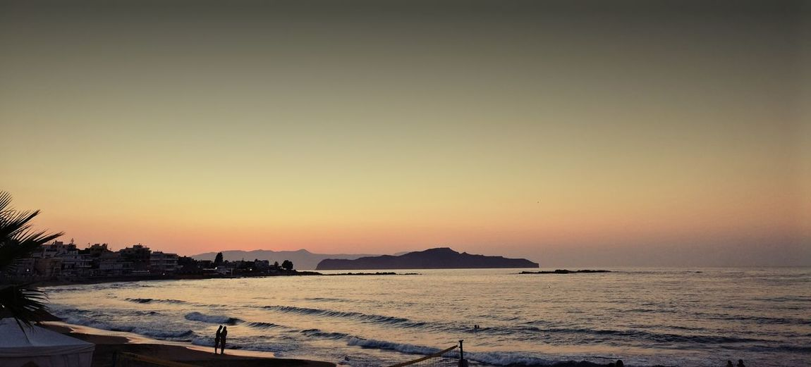 Crete Greece Greece Sunset Beach Tranquility Water Sea Nature Scenics Sky Outdoors Tranquil Scene Beauty In Nature No People Silhouette Sand Landscape Travel Destinations Clear Sky Horizon Over Water Wave Day