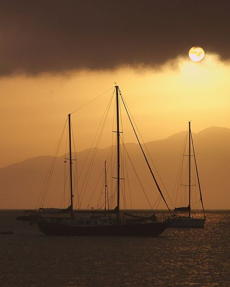 São Vicente🌕👌 Sky Water Sea Sunset Transportation Nature Sailboat Nautical Vessel Scenics - Nature No People Mode Of Transportation Sailing Tranquility Tranquil Scene Silhouette Waterfront Cloud - Sky Beauty In Nature Outdoors