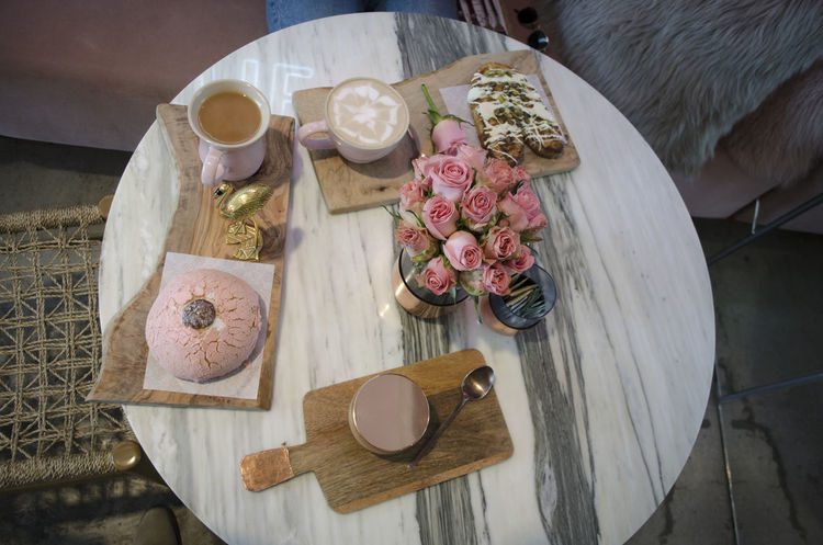 Coffee Tea Beauty In Nature Cafe Drink Flower Food Food And Drink Freshness High Angle View Indoors  Marble No People Pastries Plate Roses Still Life Table