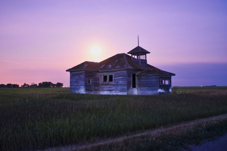 Cottonwood School Country Road One Room Schoolhouse Abandoned Architecture Back Road Drive Built Structure Field Grass Land Landscape Moonlit Night No More Braces Rural Scene Sky