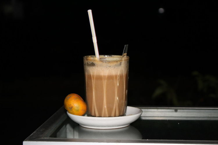 Egg tea Drink Drinking Glass Drinking Straw Milk Latte Healthy Eating No People Black Background