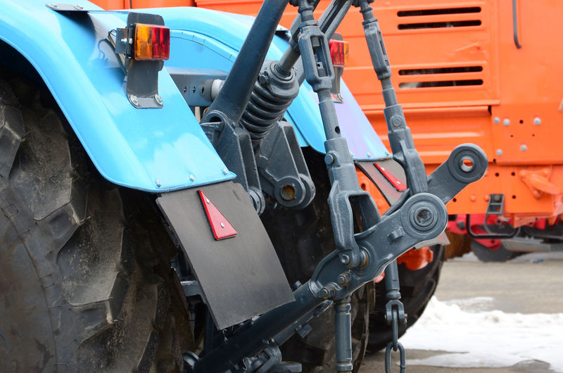 Tractor on road at construction site