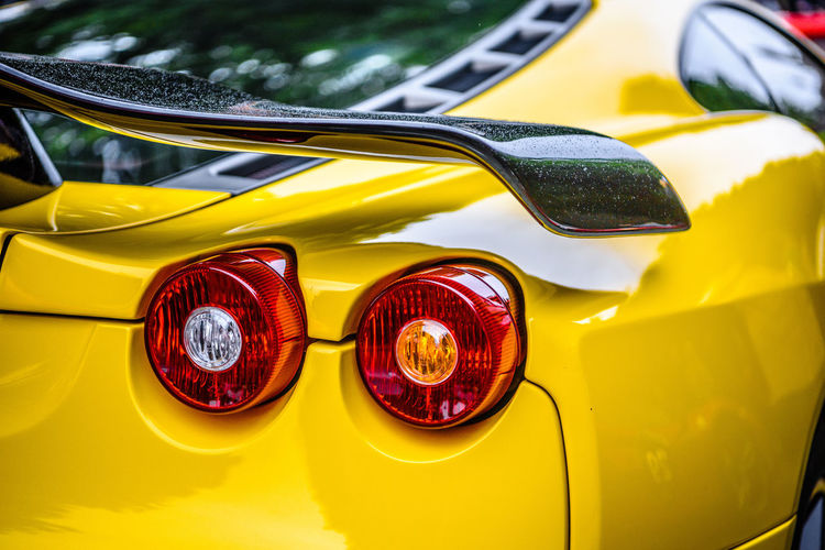 Close-up of yellow vintage car