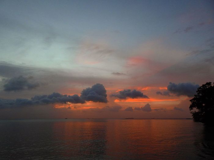 Sunset Sky Water Cloud - Sky Tranquility Scenics - Nature Sunset Sea Tranquil Scene Beauty In Nature Orange Color No People Nature Idyllic Dramatic Sky Horizon Over Water Horizon Outdoors Waterfront Atmospheric Mood Romantic Sky