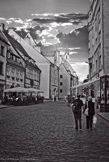 Riga, Latvia Architecture Building Exterior Built Structure Cloud - Sky Men People Real People Sky Street Walking Women
