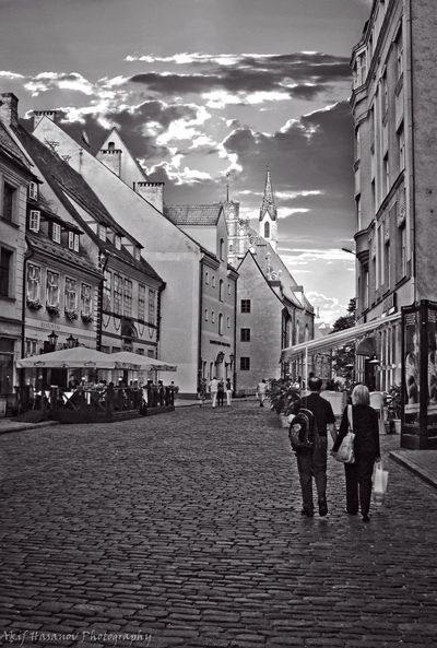 Riga, Latvia Architecture Building Exterior Built Structure Cloud - Sky Men People Real People Sky Street Walking Women