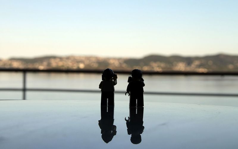 Bergen Bergen,Norway LEGO Lego Time! Beauty In Nature Camera - Photographic Equipment Clear Sky Close-up Day Focus On Foreground Lego Minifigures Legominifigures Legophotography Nature Outdoors Photographing Photography Themes Sea Sea And Sky Silhouette Sky Technology Togetherness Two People Water