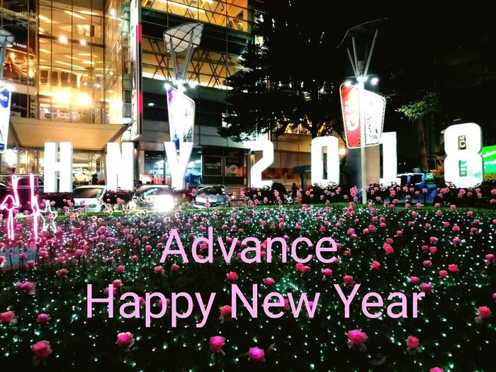 🎉Happy New Year 2018!!!🐕🐕 EyeEm Ready   Text Flower Night Outdoors Architecture Building Exterior Freshness Department Store Roses Pink Color Illuminated Celebration