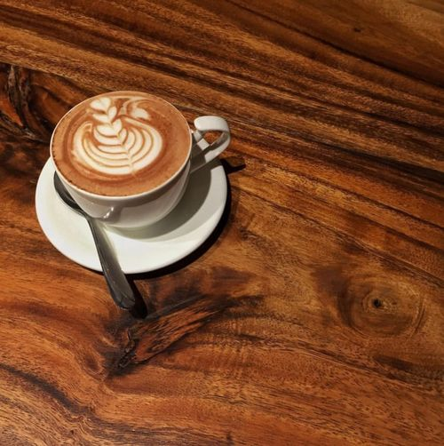 cappucino for the day Caffeine Coffee EyeEm Best Shots EyeEmNewHere Art Brown Cappuccino Coffee Cup First Eyeem Photo Frothy Drink High Angle View Mocha Refreshment Table Wood - Material
