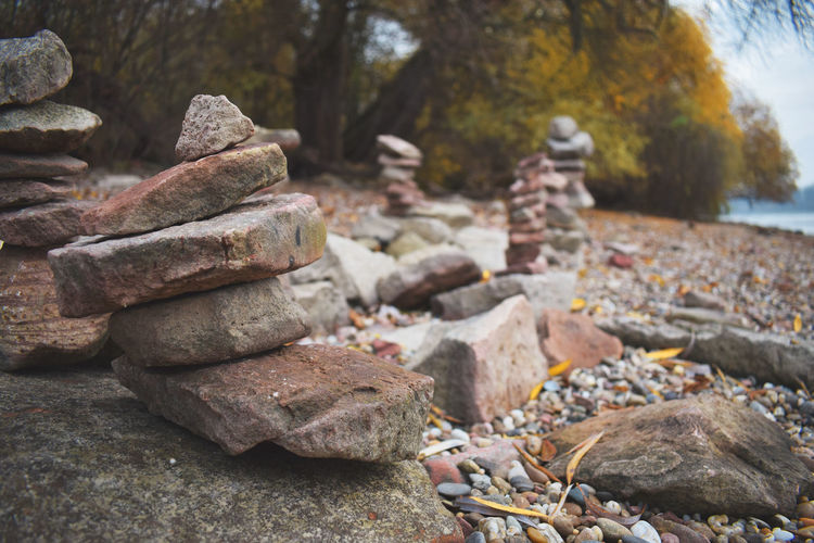 Adventure Adventure Club Autumn Autumn Colors Beauty In Nature Boulder - Rock Close-up Day Eye4photography  EyeEm Best Shots EyeEm Nature Lover Heap Large Group Of Objects Nature No People Outdoors Pebble Pebble Beach River Rock - Object Rock Formation Rocks Stack Stone - Object Tree