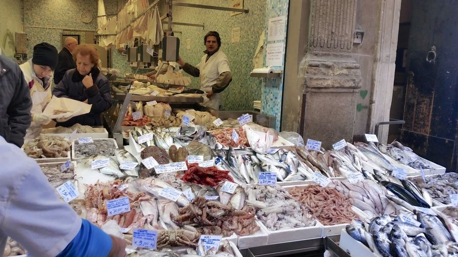 Bologna, Italy Busy Choice Fish Market Food Food And Drink Freshness People Buying