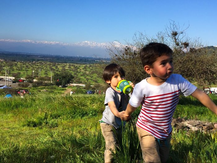 Boys Boys Two People Childhood Day Son Outdoors Nature Togetherness Sky City Life Mountain Friends Family