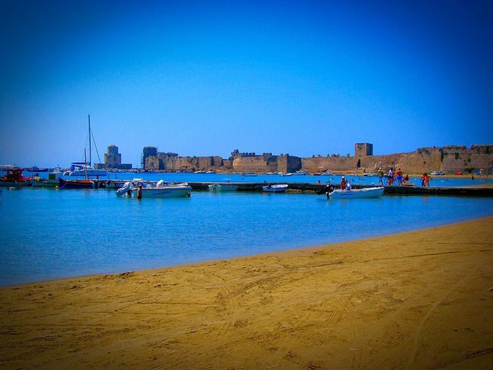 Beach Life Is A Beach Castle Port Trawlers Deep Blue Seeing The Sights The Tourist The Best From Holiday POV Splash Medieval Castle Medieval Architecture Shades Of Blue Sailboats Blue Wave Boats Summer Dreams Sea And Sand Sand Landscape Landscapes Medieval Beach Photography Methoni Methoni Castle