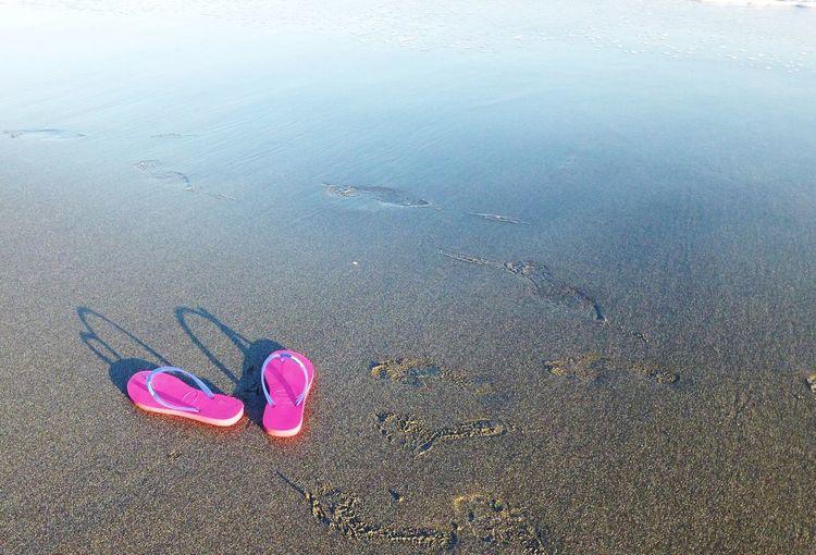 High Angle View Of Pink Flip-Flops On Wet Shore