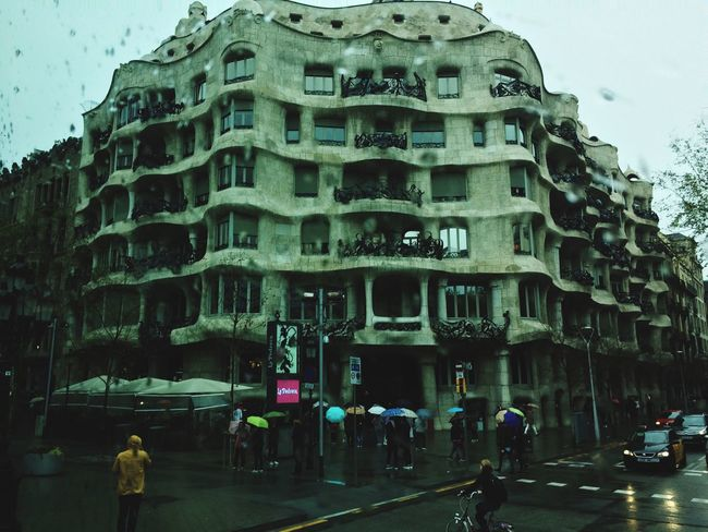 Casa Mila ( La Pedrera ) Spain🇪🇸 Gaudi Streetphotography Built Structure Schooltrip Rayning Day EyeEmNewHere Welcome To Black
