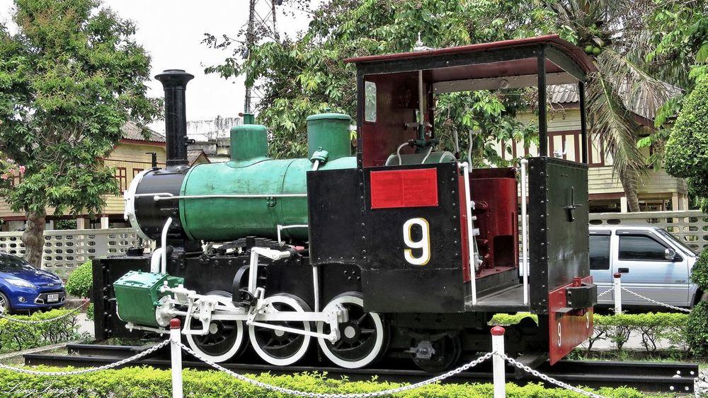 Outside Trainstation Chumphon Chumphon Day Lokomotive Mode Of Transport Old Locomotive Outdoors Stationary Thailand