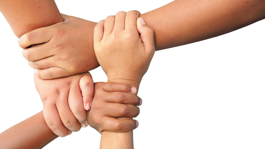 Young children join hands to best friendship forever isolated on white background, collaboration of business and education teamwork concept Togetherness White Background Human Body Part Human Hand Studio Shot Hand Bonding Indoors  Body Part Child Childhood Women People Group Of People Family Unity Friendship Close-up Adult Finger Human Limb Care Human Foot Success Teamwork Team Strength Isolated