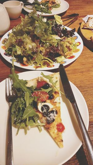 Pizza Salad Food Foodie Vegetable Salad Plate Food And Drink High Angle View Freshness Healthy Eating Ready-to-eat Meal Table Indoors  Temptation Appetizer Garnish Serving Size No People Serving Dish Close-up Day