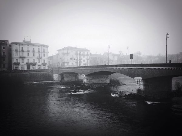 February 10 41/365 2017 One Year Project Verona Verona Italy Veneto Italy Ponte Navi Architecture Built Structure Water River Building Exterior City Connection Transportation Bridge - Man Made Structure No People Clear Sky Day Outdoors Nautical Vessel Nature Fog