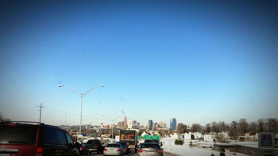 Stuck in traffic forever...finally the cincy skyline Traffic Jam Downtown Cincinnati Roadtrip