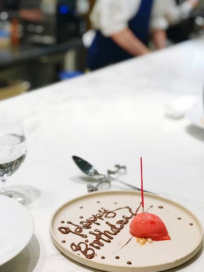 Simple birthday Kitchen Counter Kitchen Life Countertop Birthday Birthday Cake Food And Drink Focus On Foreground Close-up Still Life Food Table Sweet Sweet Food Dessert White Color Plate