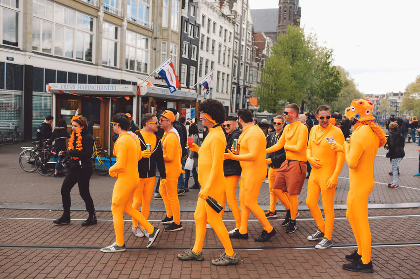 2017 Amsterdam Architecture Building Exterior Built Structure Canals Celebrating Celebration Day Event Full Length Having Fun Holiday King's Day Koningsdag Large Group Of People Men National Day Netherlands Orange Outdoors Party Real People Standing Women
