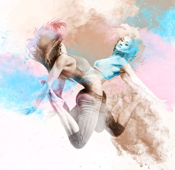 Two athletic girls jumping. Image combined with an digital effects. Digital art Active Activity ArtWork Beautiful Woman Colorful Combined Digital Art Digital Watercolor Digitally Generated Effect Figure Fit Fitness Girls Hairs Illustration Jumping Motion Paint People Slim Splash Sport Two People Watercolor