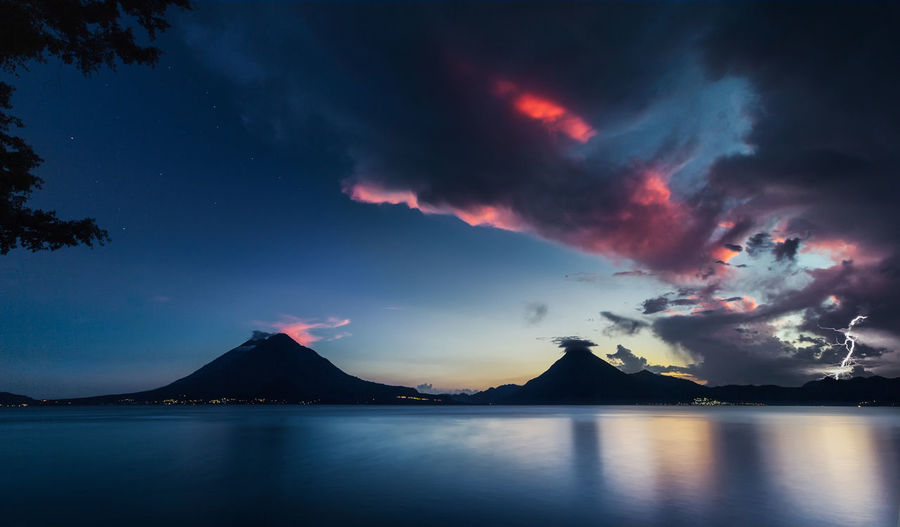 Atitlán Atitlan Lake Central America Sunset_collection Volcanoes Beauty In Nature Cloud - Sky Lightning Mountain Nature Night No People Outdoors Panajachel  Power In Nature Reflection Scenics - Nature Sea Silhouette Sky Sunset Tranquil Scene Tranquility Volcano Water Waterfront