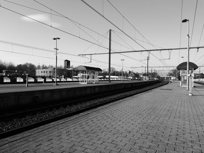 Architecture Building Exterior Built Structure Cable Day No People Outdoors Rail Transportation Railroad Station Railroad Station Platform Railroad Track Sky Transportation