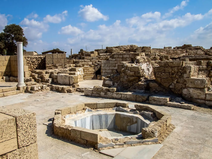Caesarea's Antiquities Park Ancient Ancient, Antique, Archeology, Architecture, Art, Asia, Background, Beach, Beauty, Bible, Blue, Brick, Bright, Building, Caesarea, Calm, City, Clouds, Coast, Coastline, Construction, Culture, Harbor, History, Holy, Israel, Judea, Landmark, Landscape, Lines Architecture Bathhouse Building Building Exterior Built Structure Caesarea, Israel, Keysarya, Palestine, Arab, Jew, Israeli, Palestinian Caesarea's Antiquities Park Cloud - Sky Day Deterioration Fishing Harbor History King Herod, Augustus Caesar, Caesar Old Old Ruin Outdoors Ruined Run-down Sky Stone Material Sunlight The Past Travel Destinations