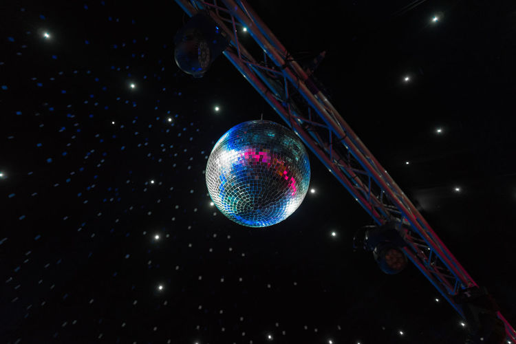 Dance LEDs Disco Ball Disco Lights Hanging Illuminated Indoors  Lighting Equipment Neon Night Nightclub No People Outrun Reflection Shiny Space Stars