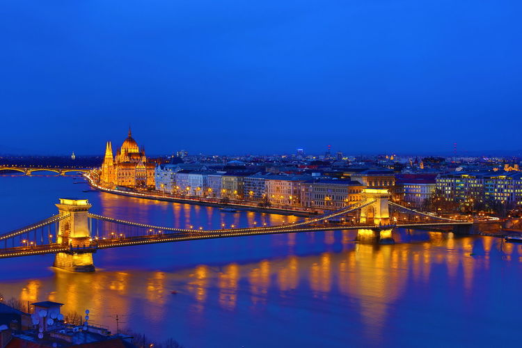 Bridge And Hungarian Parliament At Night