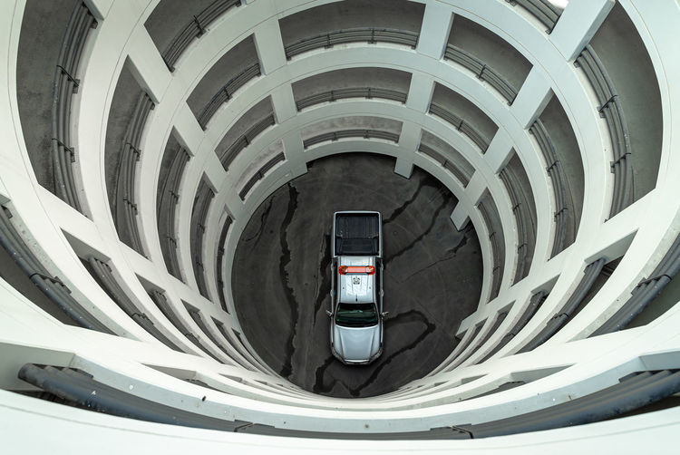 Low angle view of spiral car on road