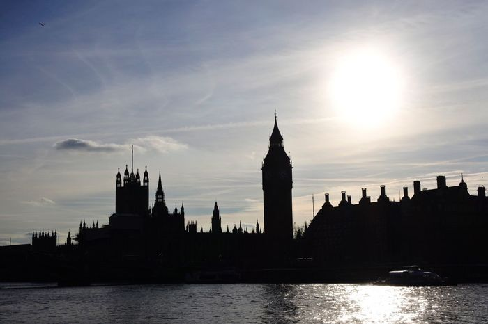 London Skyline- Big Ben, Houses of Parliment Architecture Sky Building Exterior River Water Built Structure Sun City Sunlight Travel Destinations No People Cloud - Sky Sunbeam Outdoors Clock Tower Day Nature Sillouette London Landscape Landmark Travel Big Ben Houses Of Parliament Dusk The City Light