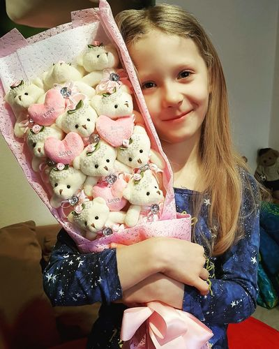 My Love My One And Only Valentine's Day  Teddy Bears Teddyflowers Sweet Day Adult Close-up Young Adult Blond Hair Childhood Child Real People Smiling Looking At Camera