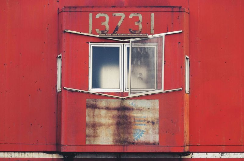Close-up of number on red train