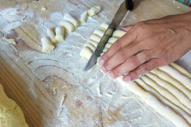High Angle View Indoors  Human Body Part One Person Textile Human Hand Real People Close-up Day Adults Only People Only Men One Man Only Adult Gnocchihomemade Gnocchi Di Patate Pasta Home Made Pasta Freshness Homemade Preparation  Domestic Life Indoors  Kneading Preparation