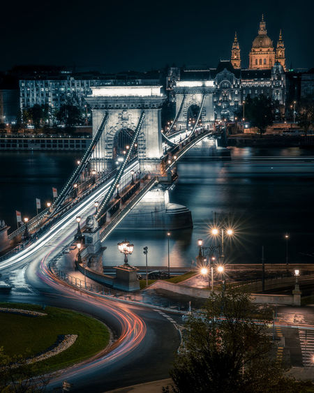 High angle view of chain bridge over danube river at night
