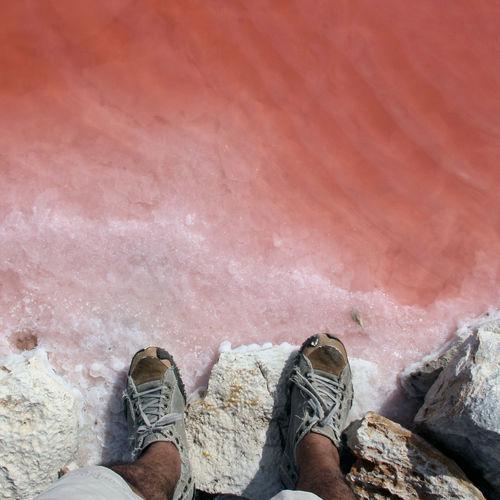 Low section of man standing at salt lake