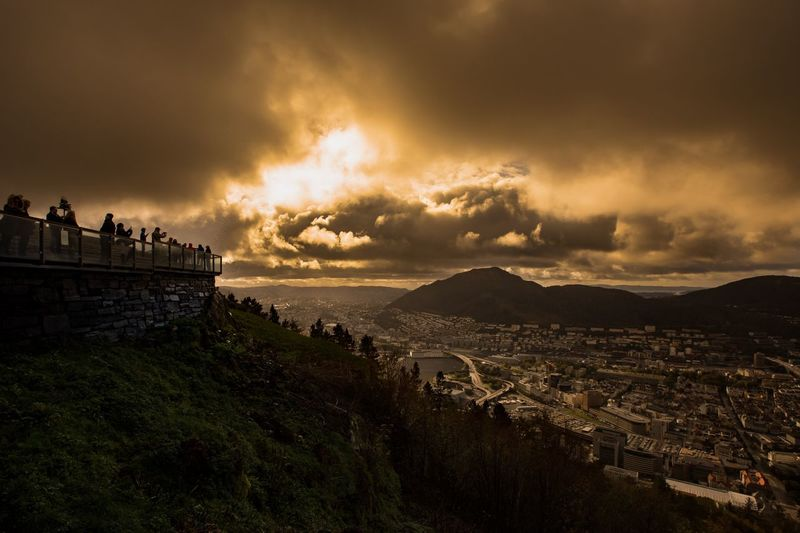 Bergen Norway Clouds And Sky Sun Warm Sunset Landscape Canon Bergen Sky Cloud - Sky Water Sunset Nature Sea Beauty In Nature Scenics - Nature Group Of People Land Outdoors Cityscape My Best Photo The Great Outdoors - 2019 EyeEm Awards
