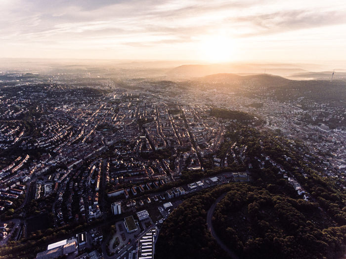Aerial View Architecture Baden-Württemberg  Bird's Eye View City City Scape Cityscape Cloud - Sky Deutschland Drone  Drone Photography Droneshot Germany No People Outdoors Sky Stuttgart Sunset Tourism Urban Skyline View View From Above Vogelperspektive