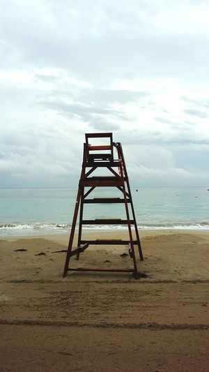 Chair Sea Beach Water Horizon Over Water Tranquil Scene Tranquility Scenics
