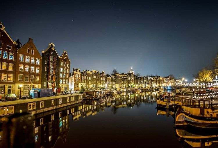 Architecture Building Exterior Night Illuminated City River Canal Watter Reflection Amsterdamcity